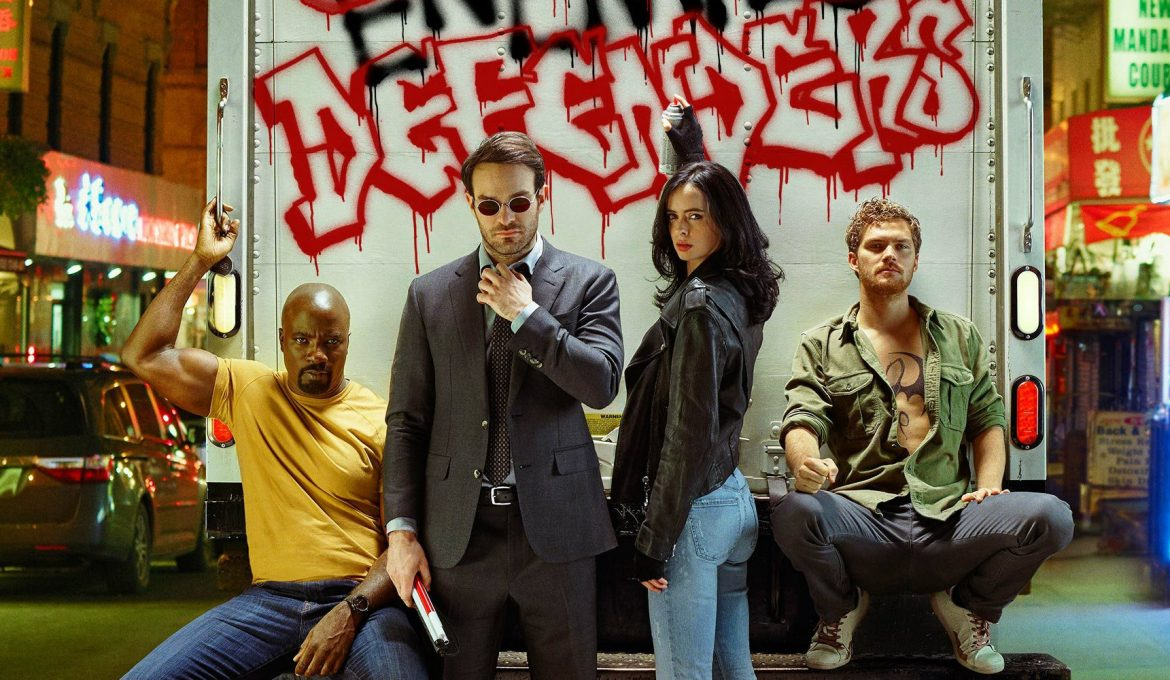 Daredevil Jessica Jones Luke Cage in Iron Fist združijo moči kot The Defenders v Netflixovi seriji.