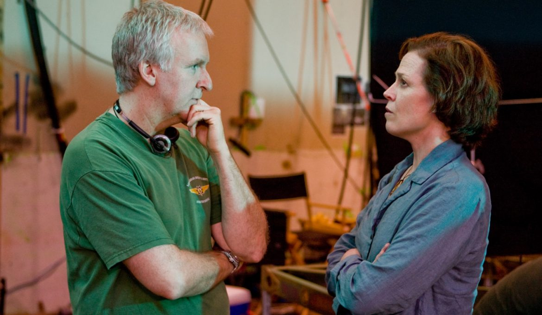 James Cameron in Sigourney Weaver na snemanju filma Avatar.