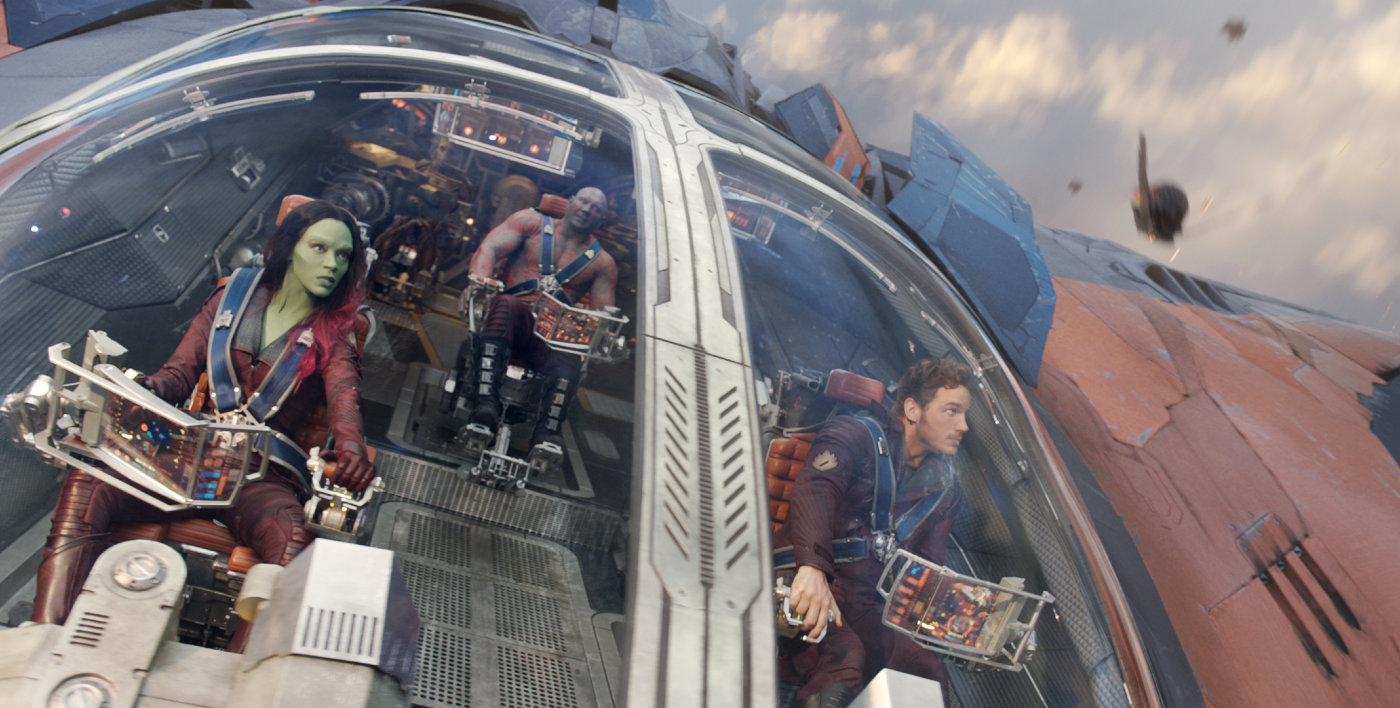chris pratt in zoe saldana v filmu varuhi galaksije guardians of the galaxy