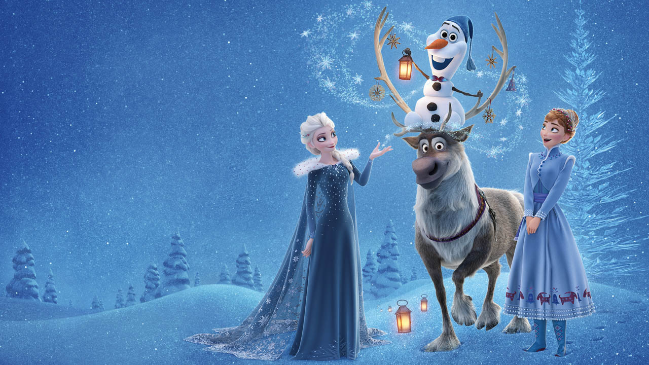 Olaf, Elza in Ana v filmu olafova prigoda frozen ledeno kraljestvo
