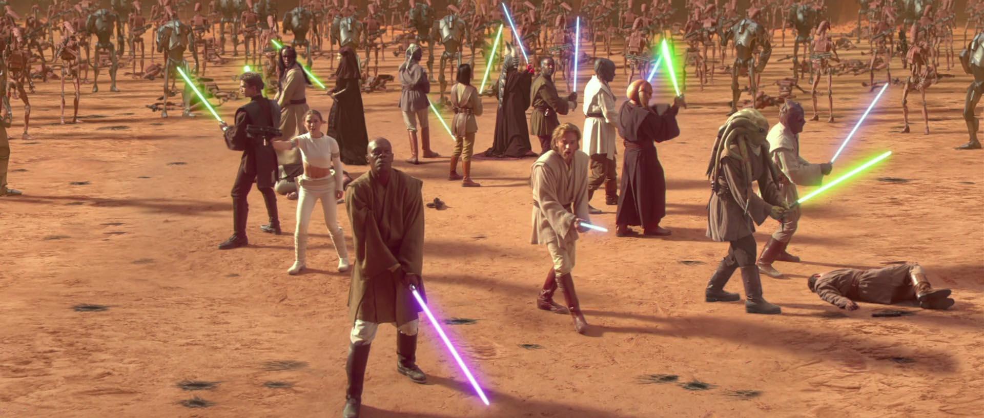 Obramba jedijev v areni v filmu Vojna zvezd napad klonov (Star Wars Attack of the Clones)